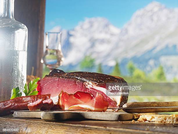Country ham, Kaminwurzen (South Tyrolean smoked sausages) and schnapps