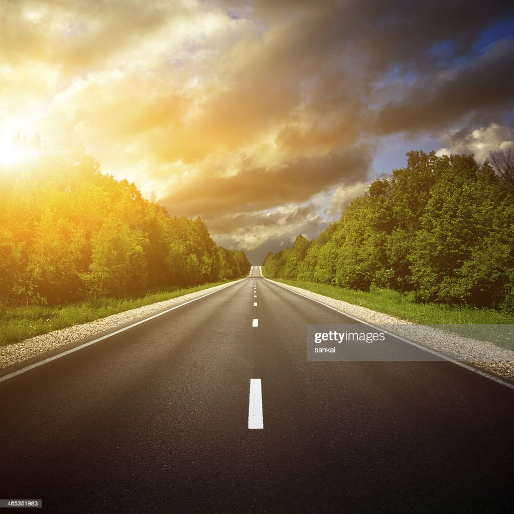 Country Highway. The way forward. : Stock Photo