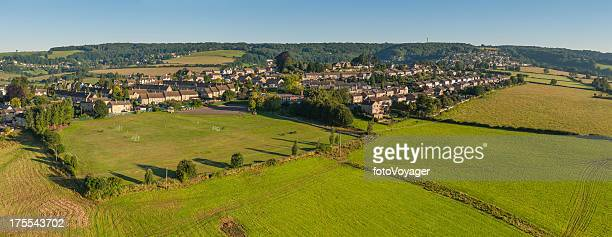 country homes green fields summer suburbs aerial panorama - overhemd en stropdas stock pictures, royalty-free photos & images