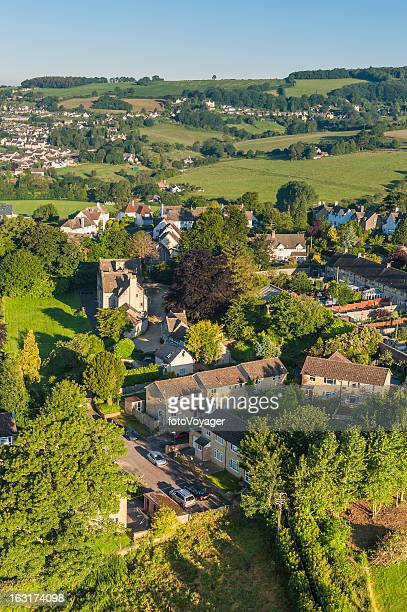 country homes summer sunrise picturesque rural village aerial view - overhemd en stropdas stock pictures, royalty-free photos & images