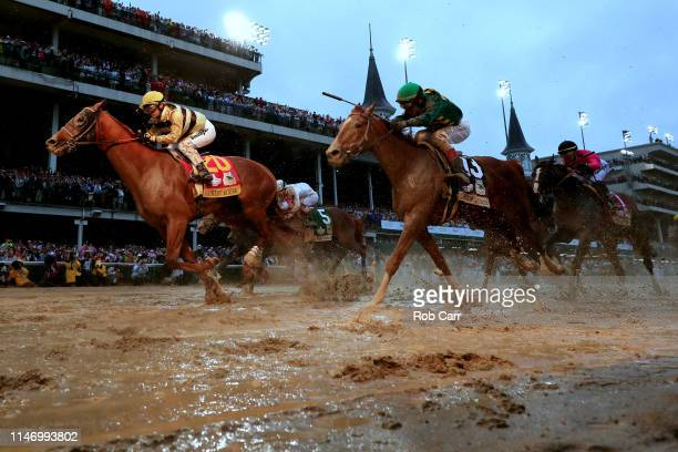 Country House ridden by jockey Flavien Prat crosses the finish line to win the 145th running of the Kentucky Derby at Churchill Downs on May 04 2019...