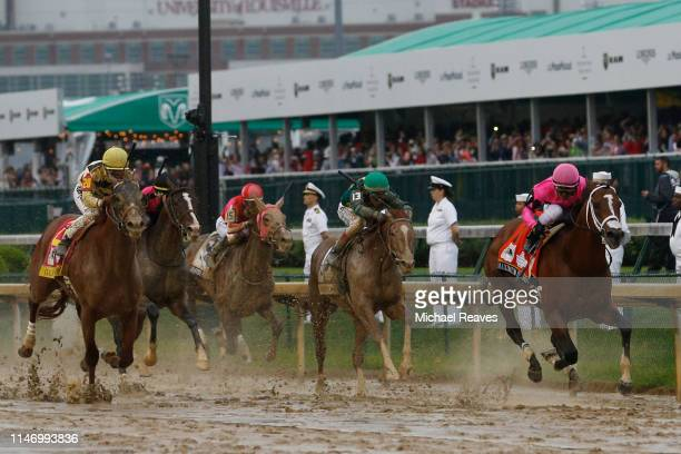 Country House ridden by jockey Flavien Prat heads down the stretch on his way to winning the 145th running of the Kentucky Derby at Churchill Downs...