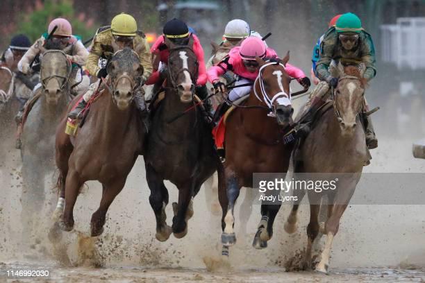 Country House ridden by jockey Flavien Prat War of Will ridden by jockey Tyler Gaffalione Maximum Security ridden by jockey Luis Saez and Code of...