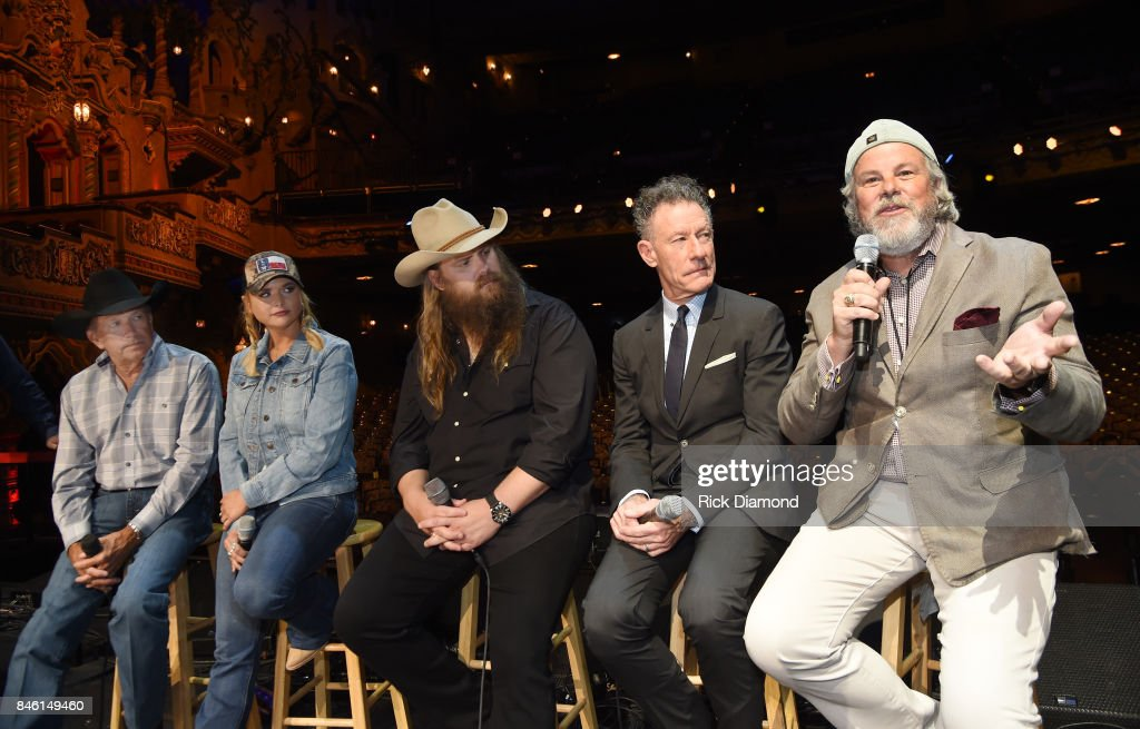 Country Icon George Strait, Musicians Miranda Lambert, Chris Stapleton, Lyle Lovett and Robert Earl Keen speak onstage during a Press Conference held prior to Hand In Hand Texas Benefit Concert at Majestic Theatre on September 12, 2017 in San Antonio, Texas.