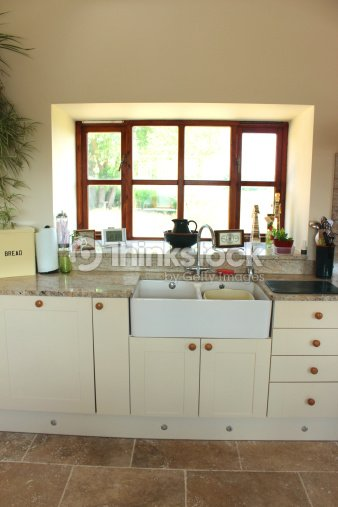Country Kitchen Cream Shaker Cabinet Doors Double Belfast Sink Drawers Stock Photo