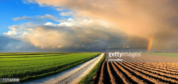 Land Landschaft mit Feldern und Regenbogen in den Himmel bei Sonnenuntergang