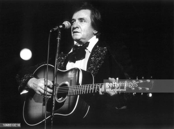 Country legend Johnny Cash during a performance at the 'International Festival of Country Music' Frankfurt Festival Hall pictured on 25th April 1981...