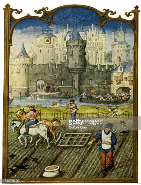 Country life a scene showing a field being ploughed against the backdrop of a fortified town in the late Middle Ages A miniature from the breviary of...