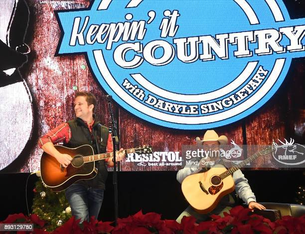 Country music artist David Allen Burns and Daryle Singletary perform during the 'Keepin' it Country with Daryle Singletary' show during the National...