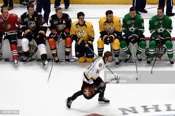 Country music artist Dierks Bentley skates during the 2016 Honda NHL AllStar Skill Competition at Bridgestone Arena on January 30 2016 in Nashville...