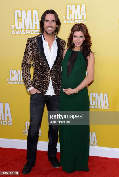 Country music artist Jake Owen and Lacey Buchanan Owen attend the 46th annual CMA Awards at the Bridgestone Arena on November 1 2012 in Nashville...
