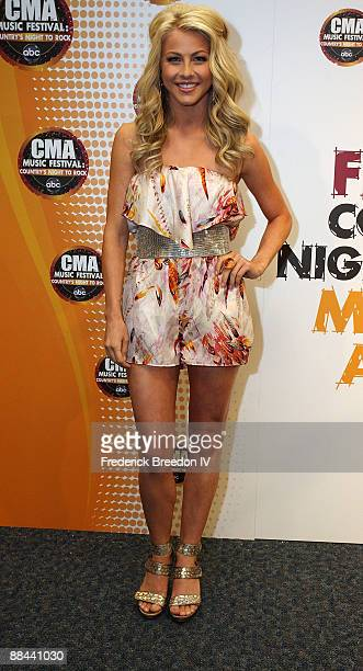 Country music artist Julianne Hough poses in the press room at the 2009 CMA Music Festival at LP Field June 11 2009 in Nashville Tennessee