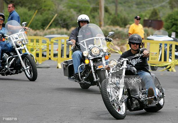 Country music artist Keith Urban arrives to the Mount Charleston Hotel stop during the third annual Academy of Country Music celebrity motorcycle...