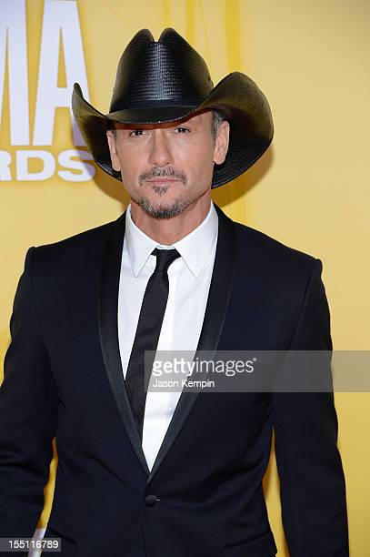 Country music artist Tim McGraw attends the 46th annual CMA Awards at the Bridgestone Arena on November 1 2012 in Nashville Tennessee