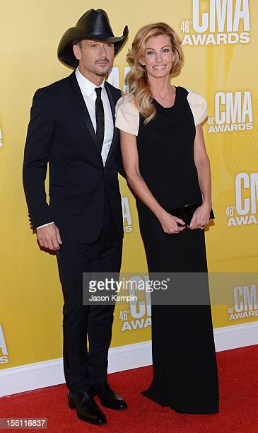 Country music artists Tim McGraw and Faith Hill attend the 46th annual CMA Awards at the Bridgestone Arena on November 1 2012 in Nashville Tennessee