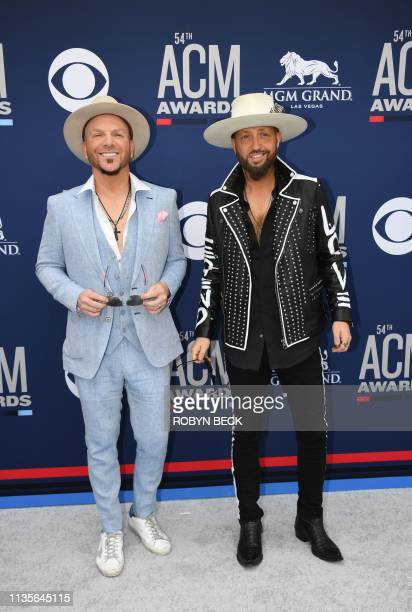 Country music duo Locash arrives for the 54th Academy of Country Music Awards on April 7 2019 in Las Vegas Nevada