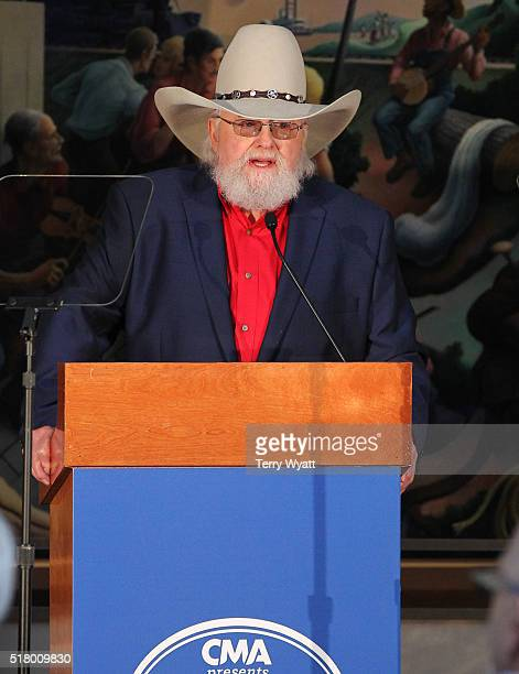Country Music Hall of Fame inductee Charlie Daniels during the 2016 Inductee announcement at Country Music Hall of Fame and Museum on March 29 2016...