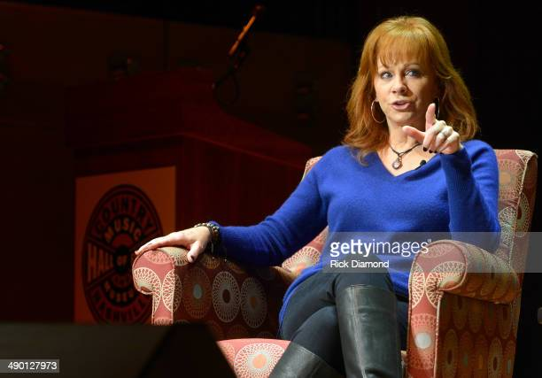 Country Music Hall of Fame Member Reba McEntire talks and does a Q A with Middle school students from Nashville during the Country Music Hall Of Fame...