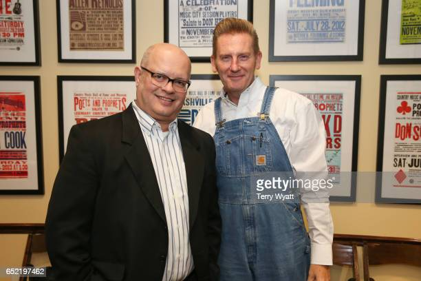 Country Music Hall of Fame's Michael McCall and Singer-songwriter Rory Feek at Country Music Hall of Fame and Museum on March 11, 2017 in Nashville,...