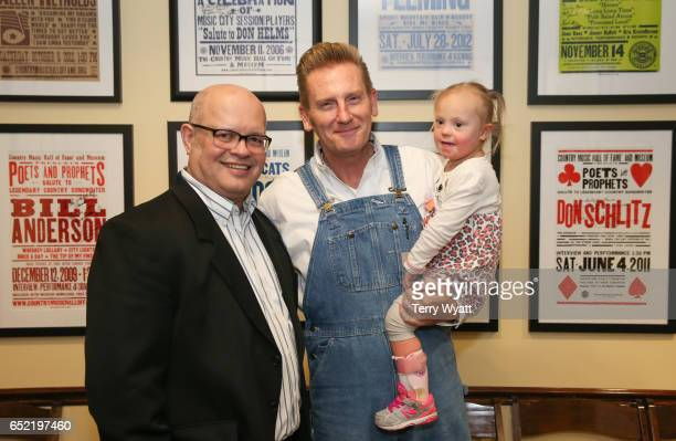 Country Music Hall of Fame's Michael McCall, Singer-songwriter Rory Feek and daughter Indiana Feek at Country Music Hall of Fame and Museum on March...