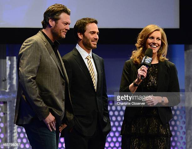 Country music singer Blake Shelton from left and NASCAR Sprint Cup Series driver Jimmie Johnson share the stage during an interview Hall at the...