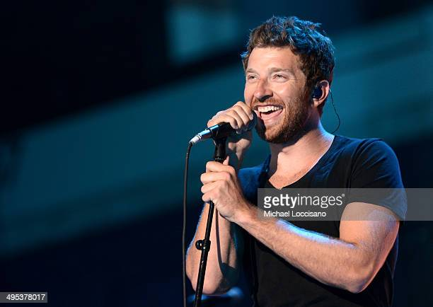 Country music singer Brett Eldredge performs onstage during the 2014 CMT Music Awards Rehearsals Day 1 at Bridgestone Arena on June 2 2014 in...