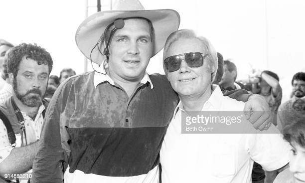 Country Music Singer Garth Brooks and George Jones back stage at Fan fair on June 121991 in NashvilleTennessee