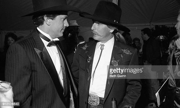 Country Music Singer George Strait with Country Music Songwriter Dean Dillon at Party for George Strait Movie premiere on October 20 1992 in...