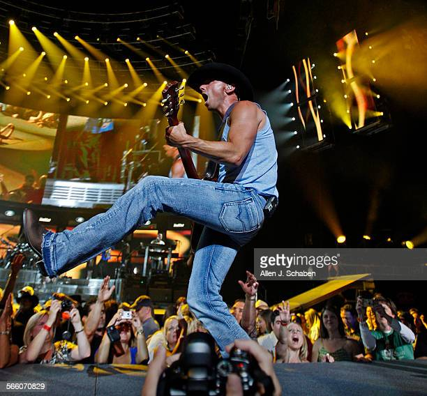 Country music singer Kenny Chesney performs his Poets and Pirates Tour at the Staples Center in Los Angeles