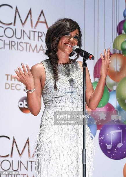 Country music singer Mickey Guyton attends the CMA 2015 Country Christmas Press room CMA 2015 Country Christmas on November 7 2015 in Nashville...