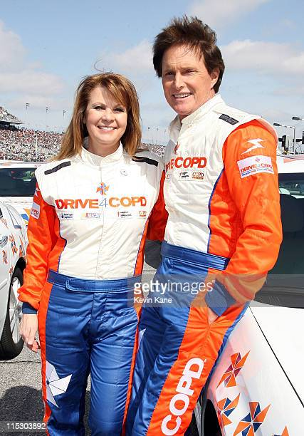 Country Music singer Patty Loveless Olympic Gold Medalist Bruce Jenner at Daytona International Speedway on February 13 2010 in Daytona Beach Florida