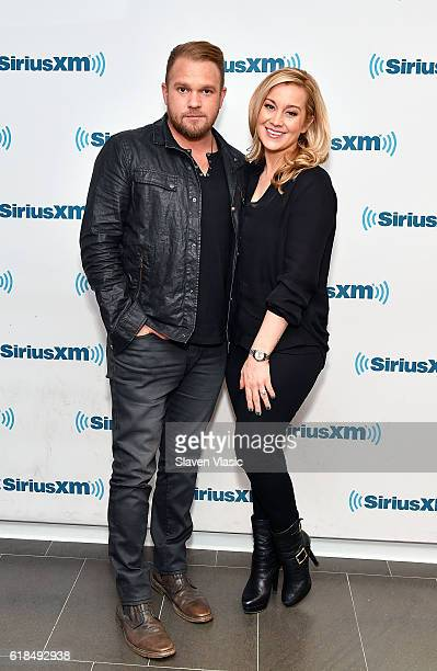 Country music songwriter/vocalist Kyle Jacobs and country musician/TV personality Kellie Pickler visit SiriusXM Studio on October 26 2016 in New York...