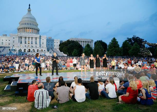 Country music star and AMERICAN IDOL alum Lauren Alaina performs at the 2018 A Capitol Fourth rehearsals at US Capitol West Lawn on July 3 2018 in...