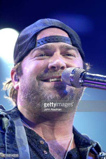 Country music star Lee Brice is shown performing on stage during a live concert appearance on January 23, 2014.