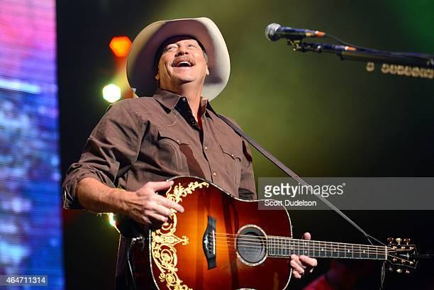 Country musician Alan Jackson performs on stage at Nokia Theatre LA Live on February 27 2015 in Los Angeles California