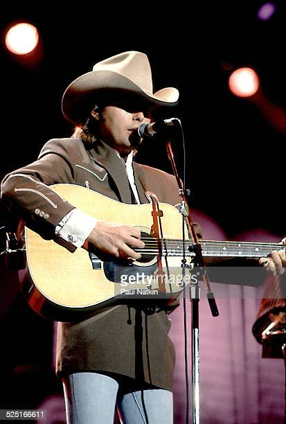 Country musician Dwight Yoakum performs in the Chicago Theater Chicago Illinois August 5 1988