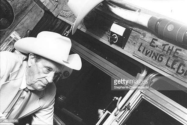 Country musician Ernest Tubb relaxes on his tour bus in circa 1979 in New York New York