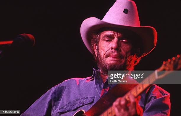 Country musician Merle Haggard performs with a Fender Telecaster in August 26, 1988.