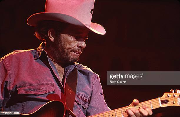 Country musician Merle Haggard performs with a Fender Telecaster in August 26 1988