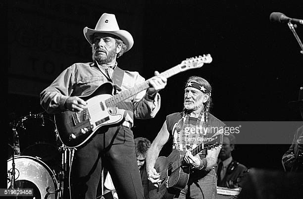 Country musician Merle Haggard performs with a Fender Telecaster with Willie Nelson in August 26 1988