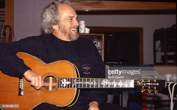 Country musician Merle Haggard recording in the studio on May 3, 1993.