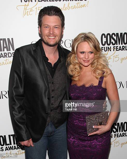 Country musicians Blake Shelton and wife Miranda Lambert attend the Cosmopolitan Fun Fearless Men and Women of 2012 at the Mandarin Oriental Ballroom...