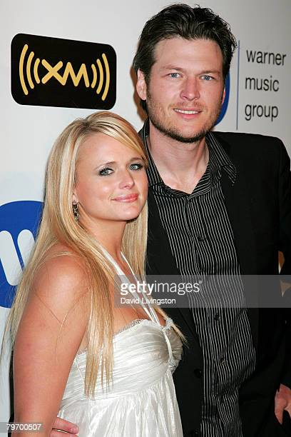 Country musicians Miranda Lambert and Blake Shelton arrive at the Warner Music Group 2008 GRAMMY Awards after party held at Vibiana on February 10...