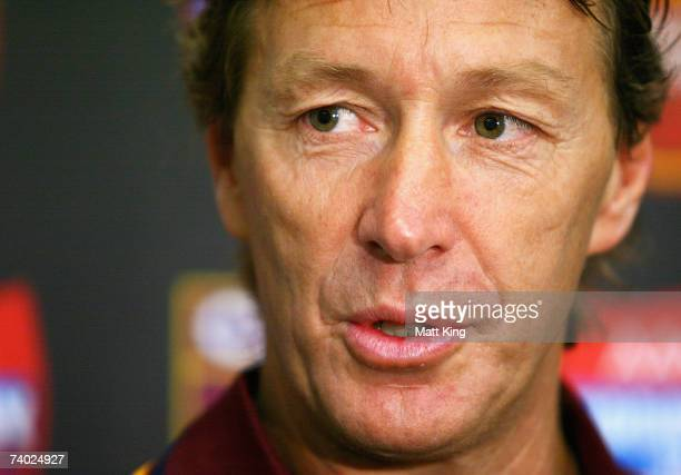 Country Origin coach Craig Bellamy talks to the media during the Country Origin team assembly at Aussie Stadium on April 30 2007 in Sydney Australia