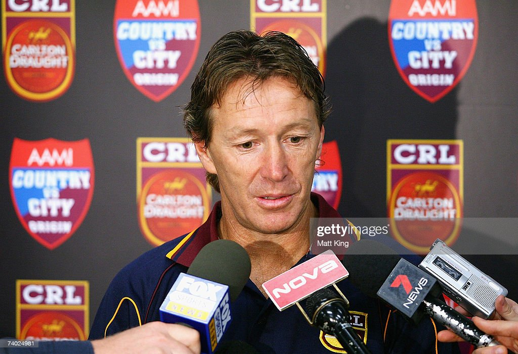 Country Origin coach Craig Bellamy talks to the media during the Country Origin team assembly at Aussie Stadium on April 30, 2007 in Sydney, Australia.