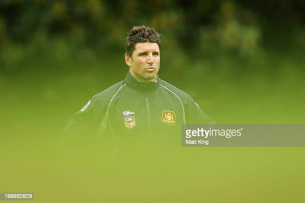 Country Origin coach Trent Barrett looks on during a Country Origin training session at Moore Park on April 16 2013 in Sydney Australia