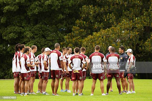 Country Origin coach Trent Barrett talks to players during a Country Origin training session at Moore Park on April 16 2013 in Sydney Australia