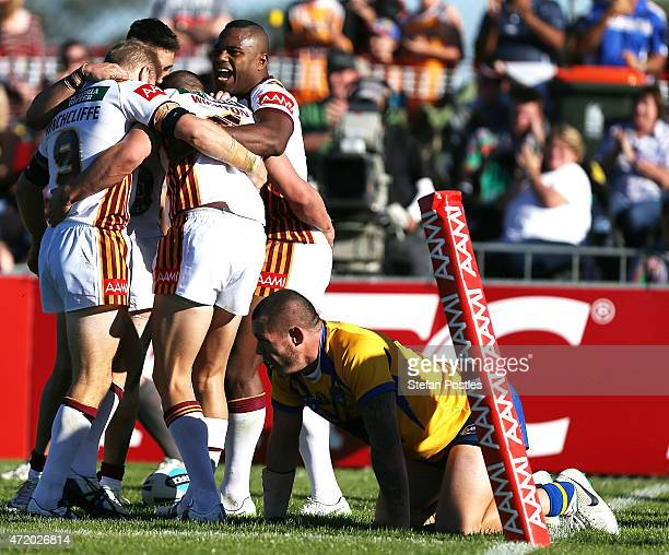 Country players celebrate after a try by Jack Wighton during the City v Country Origin match at McDonalds Park on May 3, 2015 in Wagga Wagga,...