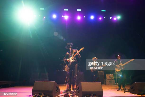 Country recording artist Orville Peck performs during his Summertime Tour at Red Rocks Amphitheatre on July 22, 2021 in Morrison, Colorado.