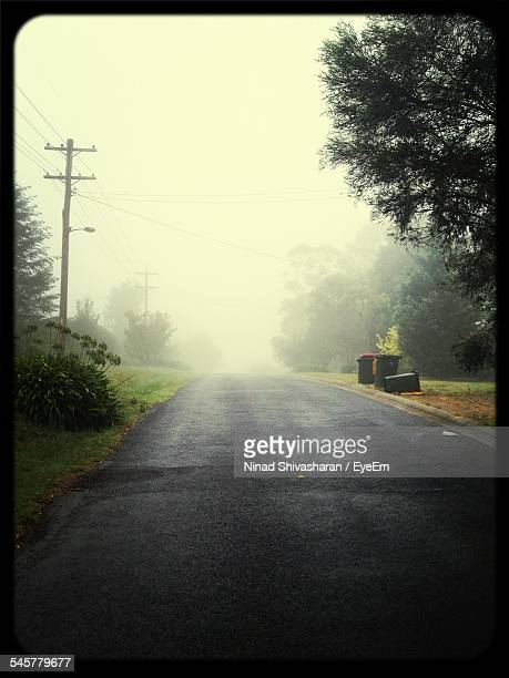 Country Road Against Clear Sky During Foggy Weather